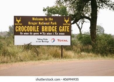 Welcome board at the entrance into Kruger Park, Crocodile brigde gate, 21.4.2015. South Africa