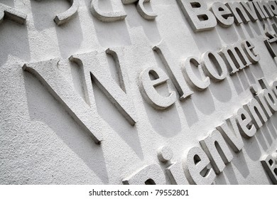 Welcome board with greeting in different languages