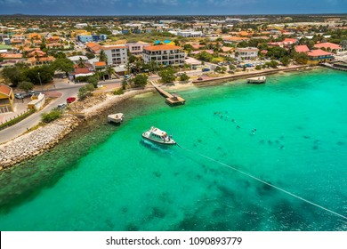 Welcome to Bonaire, Divers Paradise. Arriving at Bonaire, capture from Ship at the Capital of Bonaire, Kralendijk in this beautiful island of the Caribbean Netherlands, with its paradisiac beaches.