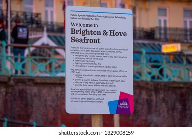 Welcome to Brighton and Hove seafront - BRIGHTON / ENGLAND - FEBRUARY 27, 2019