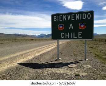 welcome to Chile, road sign in Patagonia