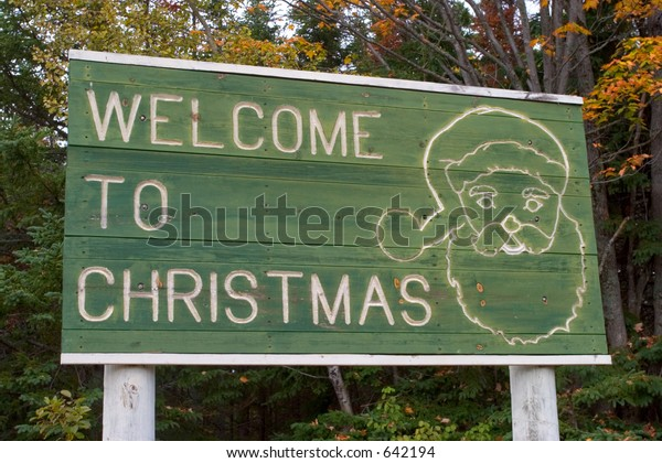 Christmas Michigan.Welcome Christmas Michigan Road Sign Stock Photo Edit Now