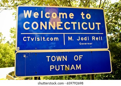 Welcome to Connecticut blue road sign.