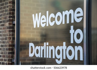 Welcome to Darlington sign, printed on glass, situated in the town centre, Darlington is a market town in the north-east of England, United kingdom.