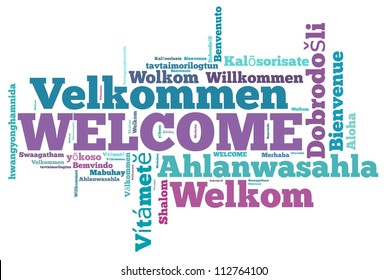 welcome different languages info-text graphics and arrangement concept on white background (word cloud)