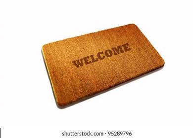 Welcome Door mat natural fiber on white background