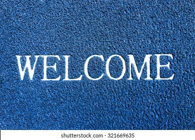 welcome doormat blue color