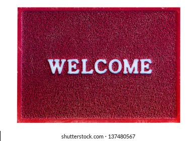 welcome doormat carpet isolated on white