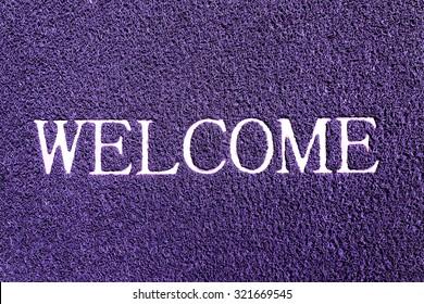 welcome doormat purple color