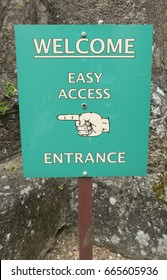 """Welcome, Easy Access, Entrance"" Sign Outside the Church of St Michael the Archangel in the Village of Chagford within Dartmoor National Park in Rural Devon, England, UK"