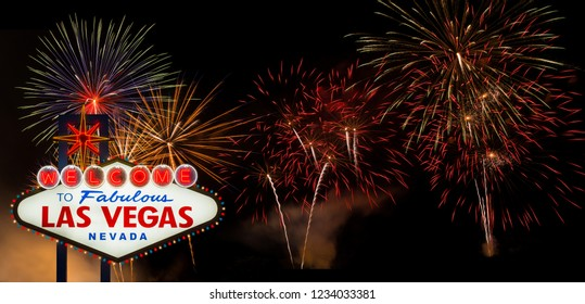 Welcome to Fabulous Las Vegas with colorful firework background