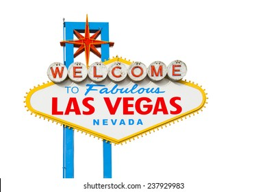 Welcome to Fabulous Las Vegas Neon Sign With Clipping Path
