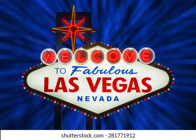Welcome to fabulous Las Vegas neon sign at night