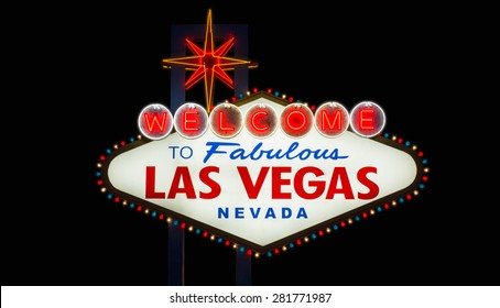 Welcome to fabulous Las Vegas neon sign on black background