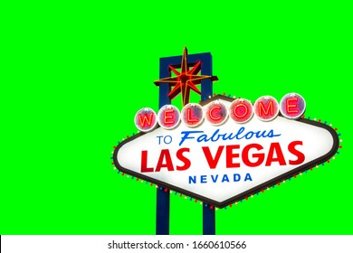 Welcome to fabulous Las vegas Nevada sign isolated on green background
