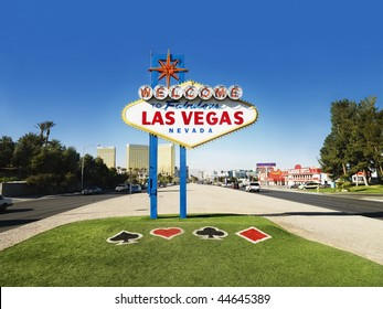 Welcome to Fabulous Las Vegas Nevada sign with urban buildings in background. Horizontally framed shot.