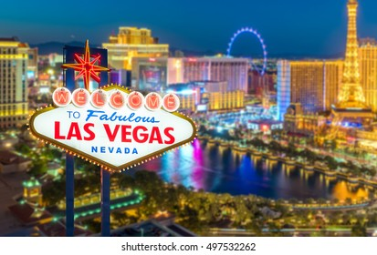 Welcome to fabulous Las vegas Nevada sign with top view of blur strip road background