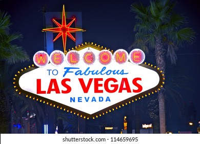 Welcome to Fabulous Las Vegas - Vegas Welcome Sign at Night. Las Vegas, Nevada.