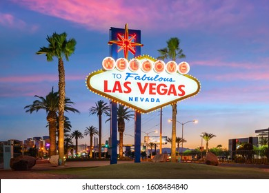 The Welcome to Fabulous Las Vegas sign in Las Vegas, Nevada USA at sunset - Shutterstock ID 1608484840