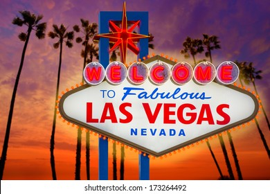 Welcome to Fabulous Las Vegas sign sunset with palm trees Nevada photo mount and illustration