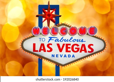 Welcome to Fabulous Las Vegas sign blurred highlights bokeh Nevada photo mount