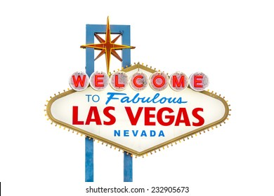 Welcome to Fabulous Las Vegas sign isolated on white