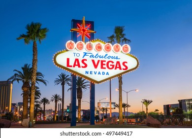 The Welcome to Fabulous Las Vegas sign in Las Vegas, Nevada USA - Shutterstock ID 497449417