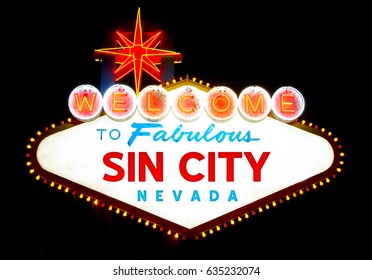 Welcome to fabulous Sin City (Las Vegas) sign at night