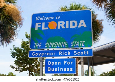The Welcome to Florida sign at a rest area on the Florida/Georgia border on the I-75