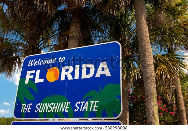 """Welcome to Florida"" sign (The Sunshine State)"