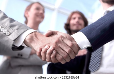 welcome and handshake business people