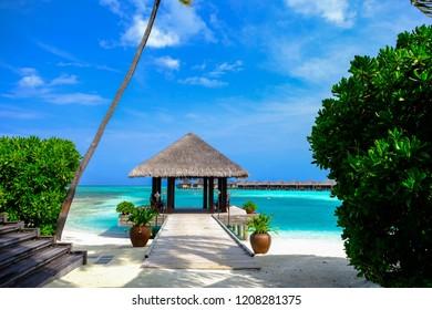 A welcome hut in tropical beach of Anantara Veli Maldives Resort