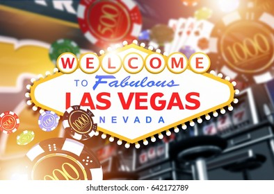 Welcome in Las Vegas Concept 3D Rendered Illustration. Vegas Fun and Gambling.