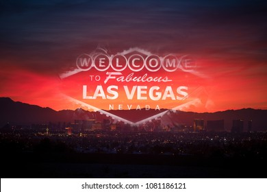 Welcome in the Las Vegas Concept Photo. Sunset, Cityscape and the Famous Strip Sign Overlay Composition.