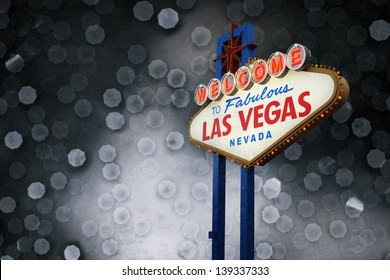 Welcome To Las Vegas neon sign with light bokeh background