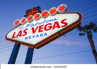 Welcome To Las Vegas neon sign on sunset sky