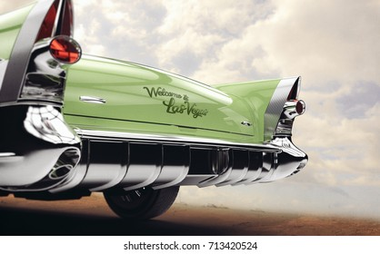 Welcome to Las Vegas - Old car concept in desert (with vintage/dust overlay) - 3d illustration