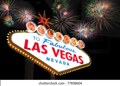Welcome to Las Vegas Sign with firework in the background