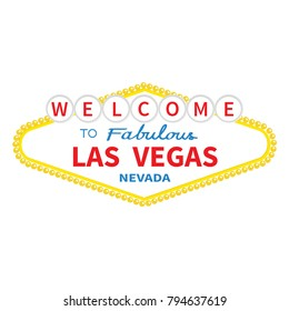 Welcome to Las Vegas sign icon. Classic retro symbol. Nevada sight showplace. Flat design. White background. Isolated.