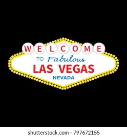 Welcome to Las Vegas sign icon. Classic retro symbol. Nevada sight showplace. Flat design. Black background. Isolated.