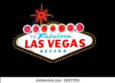 Welcome to Las Vegas sign on black