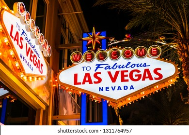 The Welcome to Las Vegas sign, shot at night.