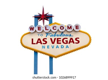 Welcome to Las Vegas Sign with white background for cutout.