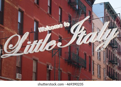 """""""Welcome to Little Italy"""" sign in Little Italy, New York City, USA on April 17, 2016."""