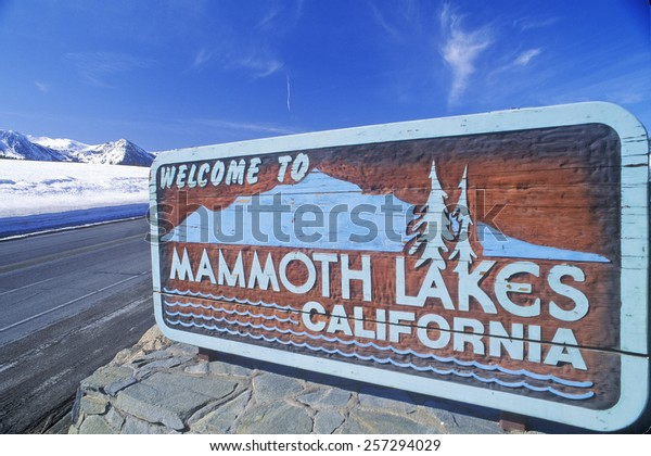 """Welcome to Mammoth Lakes California"" sign along roadway, Mammoth, California"