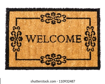 Welcome mat isolated on white
