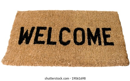Welcome Mat in large clear Bold black letters