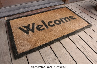 Welcome mat on a porch