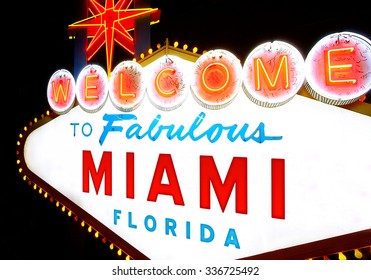 Welcome to Miami illuminated sign.