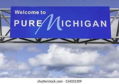 Steel Sign Michigan Welcome